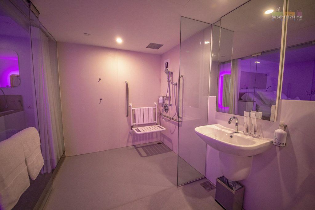 Bathroom in the Premium Queen Accessible Cabin at YOTELAIR in Jewel Changi Airport Singapore