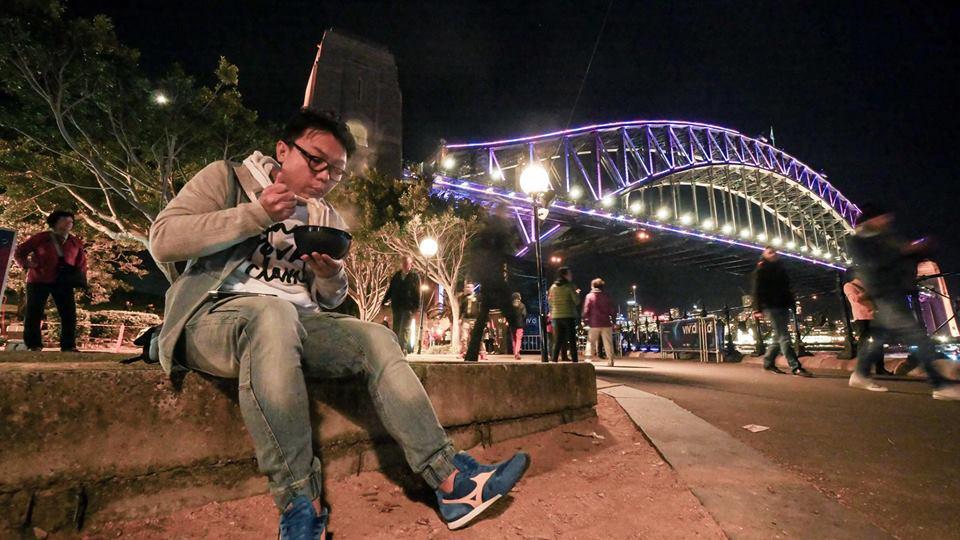 Dennis at Sydney Harbour Bridge dining during Vivid Sydney 2016