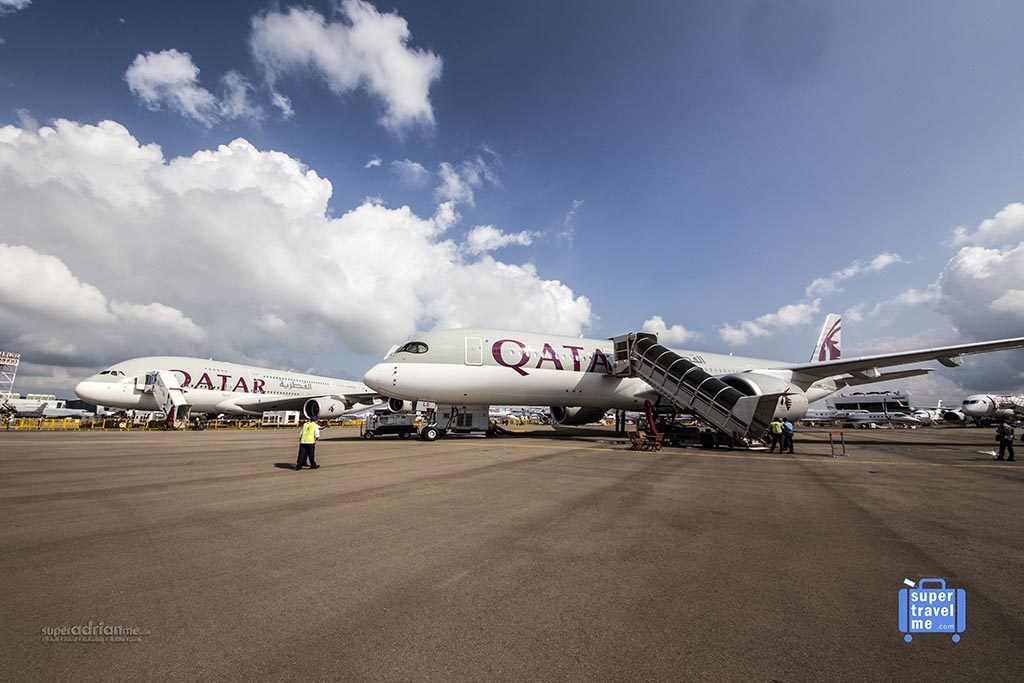 Qatar Airways A350 and A380 at Singapore Air Show