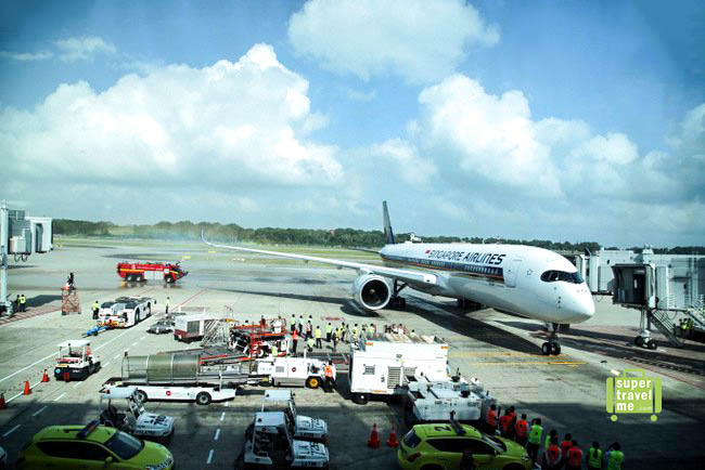 Singapore Airlines A350 aircraft at Changi Airport