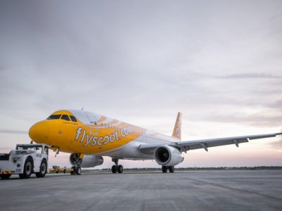Tigerair A320 aircraft repainted with Scoot Livery (Photo credit: Scoot)