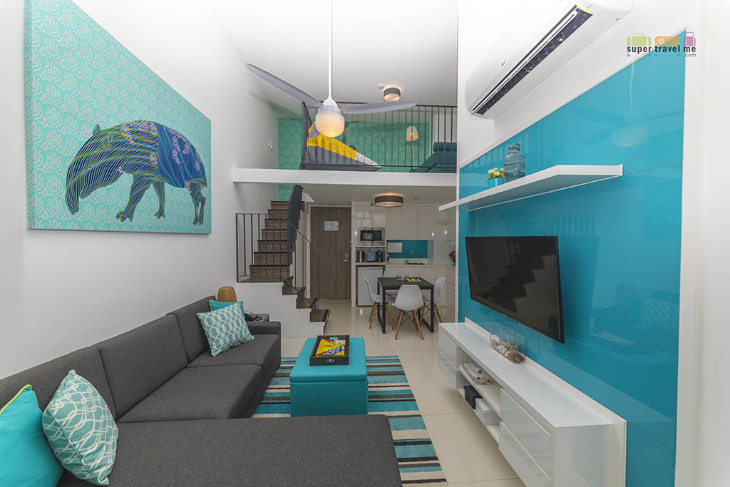 The spacious two-bedroom loft apartment at Cassia Bintan