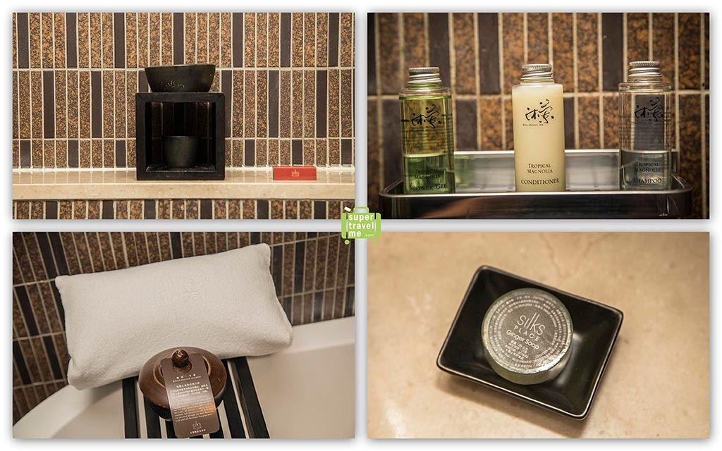 Amenities in the suite bathrooms at Silks Place Taroko