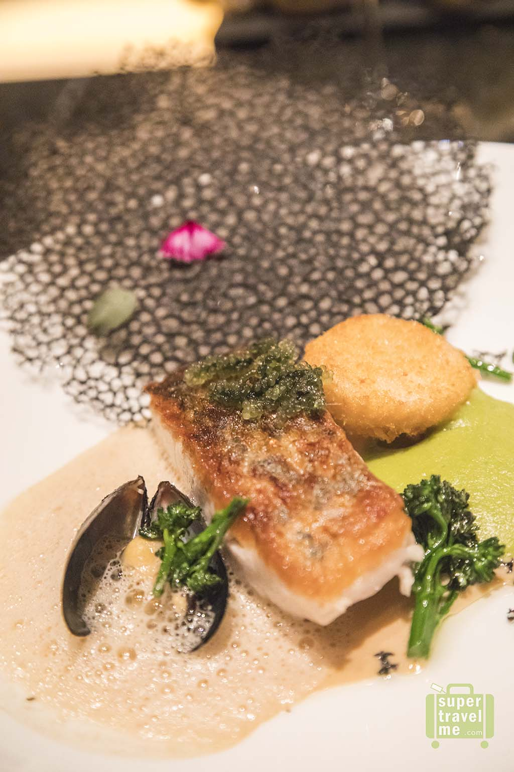 Duo of Barramundi Sole served at VIEW Restaurant and Bar at Fairmont Jakarta