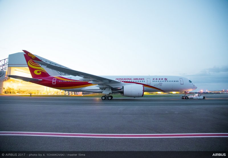Hong Kong Airlines A350-900 MSN124 rolls out of paintshop (Airbus photo)