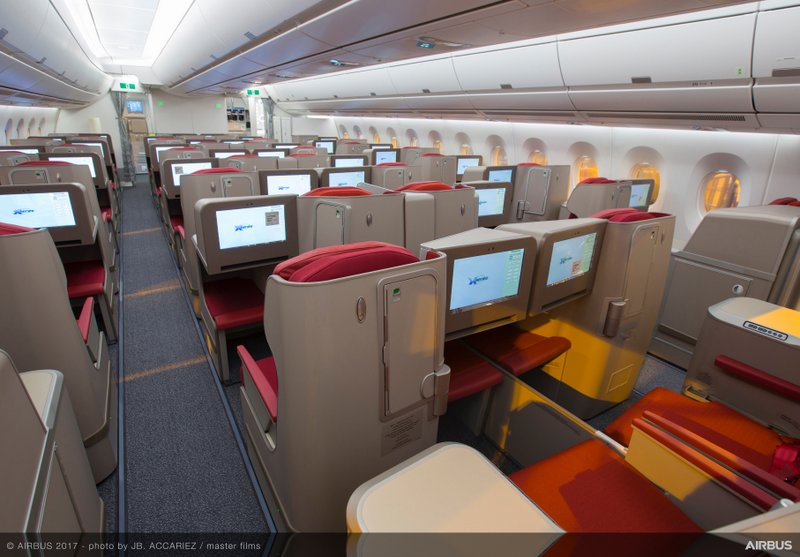 Hong Kong Airlines A350-900 Business Class Cabin (Airbus Photo)
