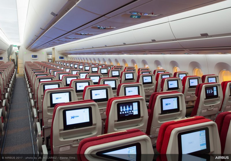 Economy Class cabin in Hong Kong Airlines A350-900 cabin (Airbus photo)