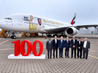 Emirates 100th A380. Emirates unveiled a special tribute to the late HH Sheikh Zayed bin Sultan Al Nahyan, founding father of the United Arab Emirates - bespoke livery on its 100th A380. From left to right: HH Sheikh Ahmed bin Saeed Al Maktoum, Chairman and Chief Executive Officer, Emirates Airline & Group, Tom Enders, Chief Executive Officer of Airbus , Sir Tim Clark, President Emirates Airline , Fabrice Brégier, Chief Operating Officer of Airbus and President Commercial Aircraft , HE Ali Al Ahmed, UAE Ambassador to Germany , Adel Al Redha, Emirates Executive Vice President and Chief Operating Officer and John Leahy, Chief Commercial Officer – Customers – Commercial Aircraft of Airbus. (Emirates photo)