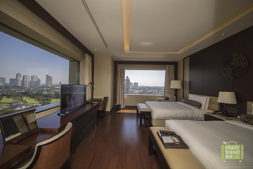 Bedroom with a view at the Fairmont Jakarta
