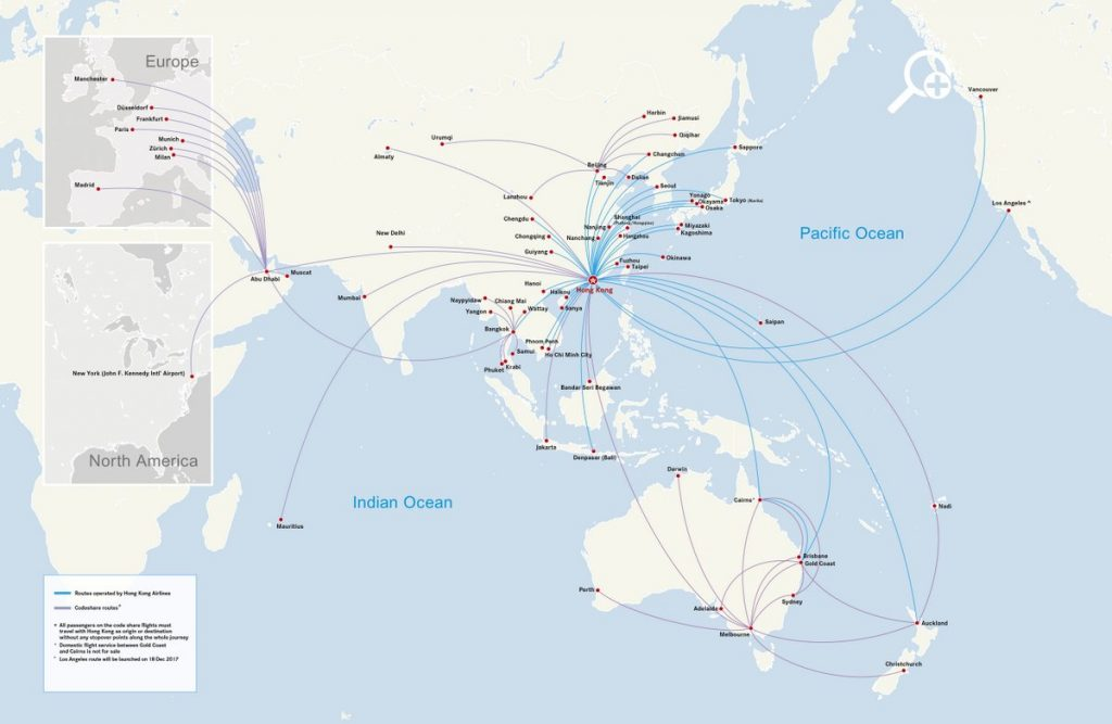 Hong Kong Airlines Route Map and Codeshare Routes