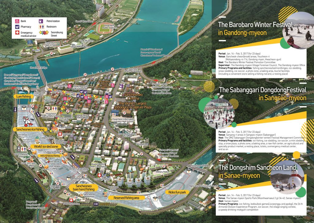 Hwacheon Sancheoneo Ice Festival map from 2017 (Source: Narafestival.com)