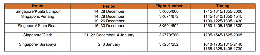 Additional Flight Schedules - Jetstar Asia