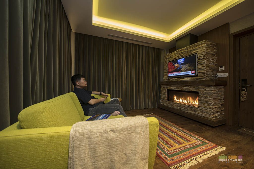 Cappadocia, Turkey - Ariana Sustainable Luxury Lodge - Fire place in Aruru King Suite with Spa 1G7A0689