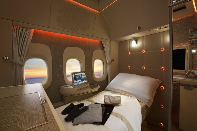 Emirates First Class Suite fully flat bed