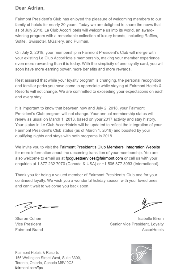 Fairmont President's Club integration to Le Club Accorhotels eDM