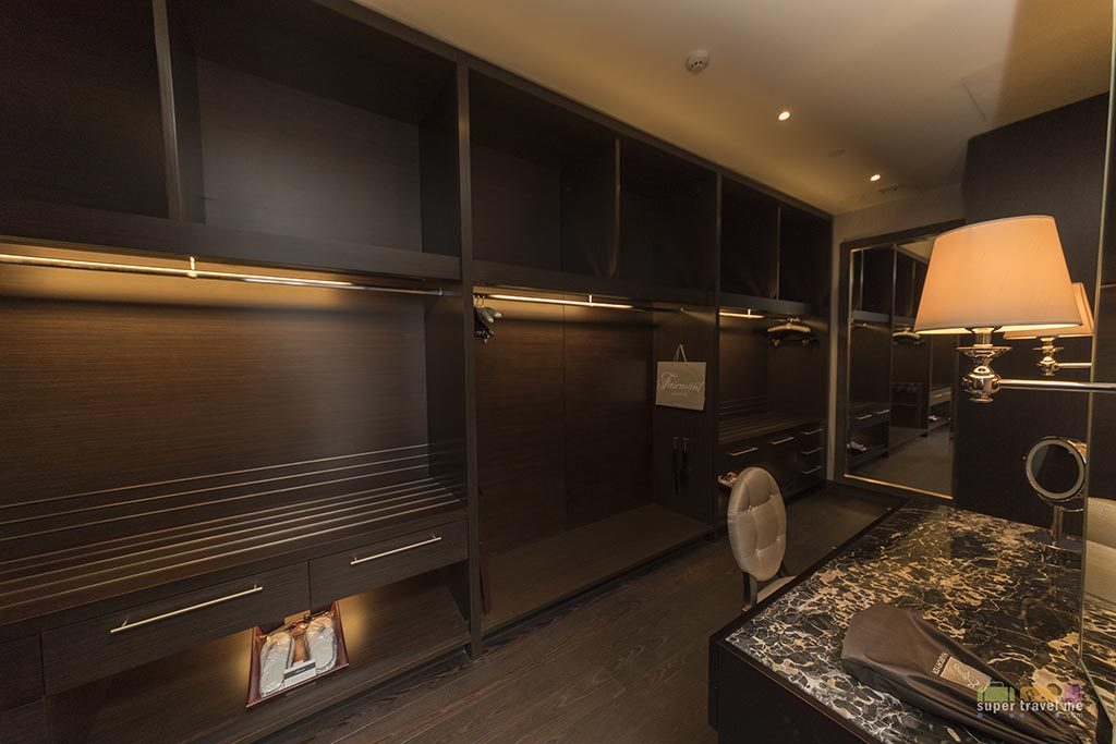 Walk in closet in Presidential Suite
