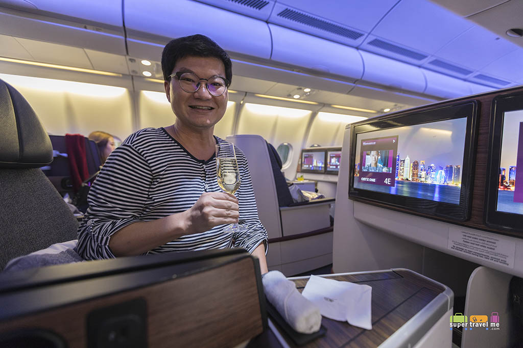 Have a glass of champagne or two when flying in Business Class onboard Qatar Airways