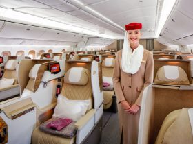 B777 Business Class 2-2-2 layout with Cabin Crew