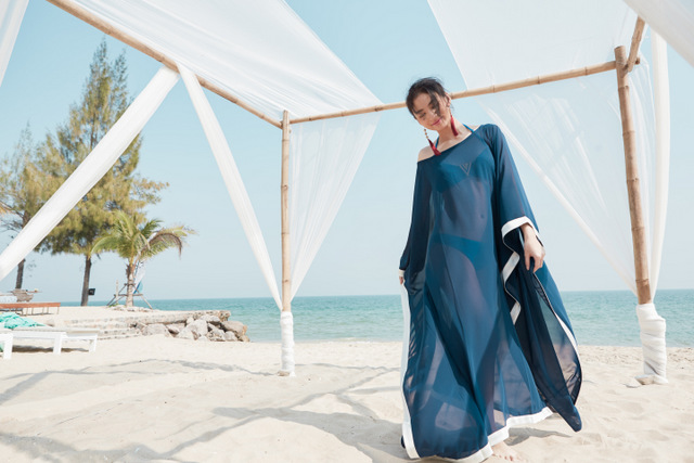 ASAVA Blue Kaftan by the beach