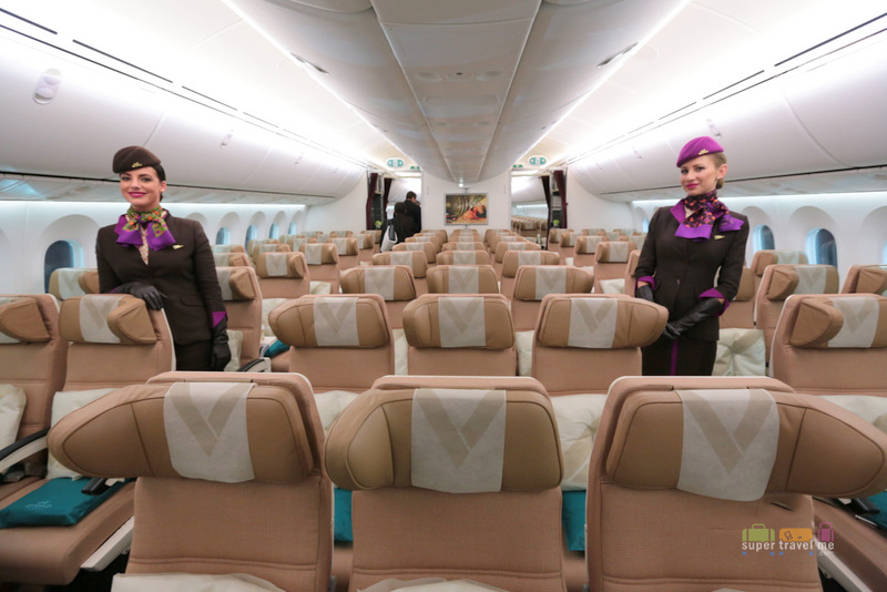Etihad Airways Economy Class with the signature headrest for maximum comfort