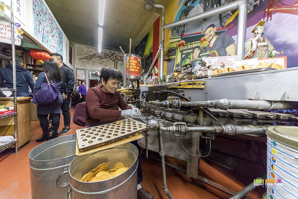 See how fortune cookies are made at the Golden Gate Fortune Cookies Factory
