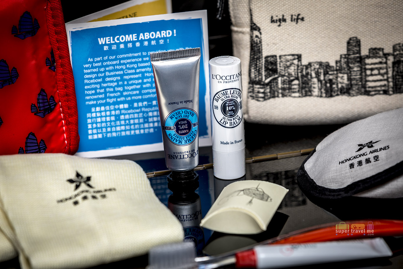 L'occitane Hand moisturiser and lip balm inside the Hong Kong Airlines amenity kit
