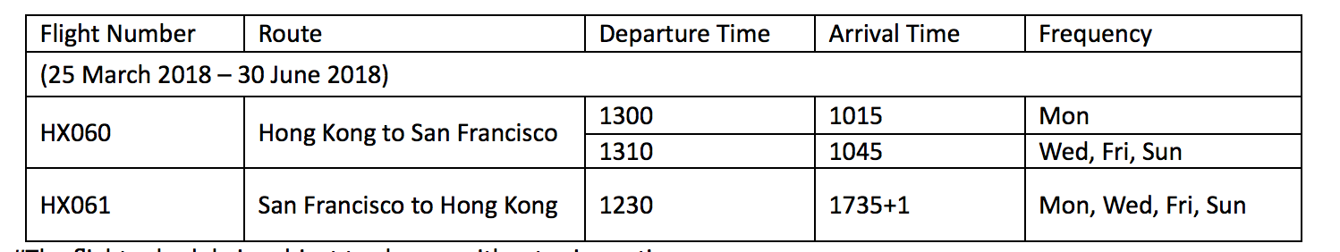 Hong Kong Airlines - SFO - HKG - SFO Flight schedule