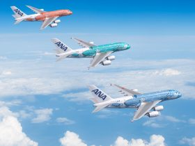 ANA A380s in special FLYING HONU livery motifs in blue (Lani - sky), emerald green (Kai - ocean) and orange (Ka La - sunset)