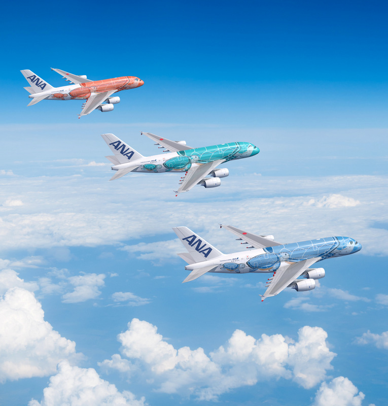 ANA A380s in special FLYING HONU livery motifs in blue (Lani - sky), emerald green (Kai - ocean) and orange (Ka La - sunset)