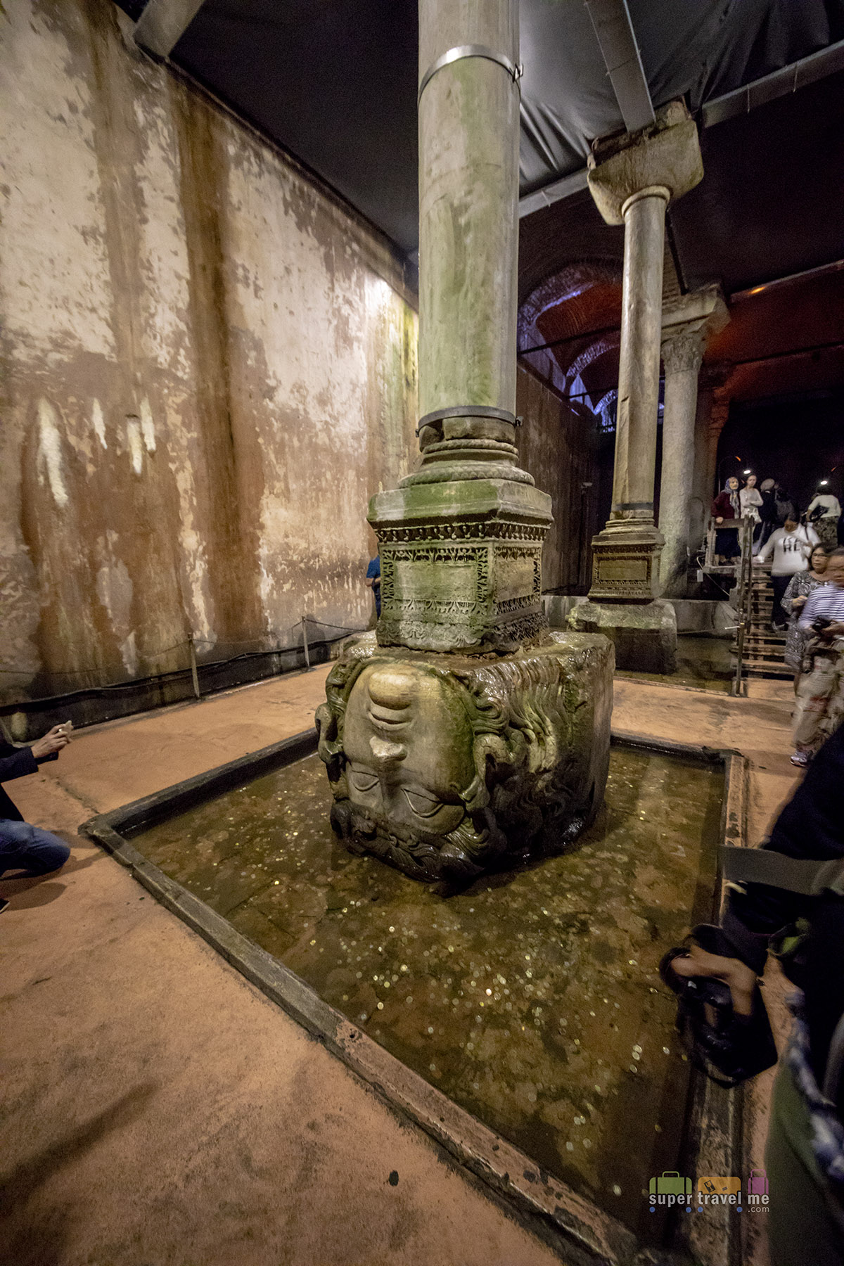 Medusa Head at Basilica Cistern in Istanbul, Turkey 0986