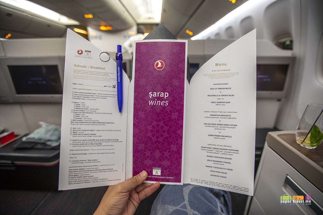 Turkish Airlines business class inflight meal menu for long haul flights