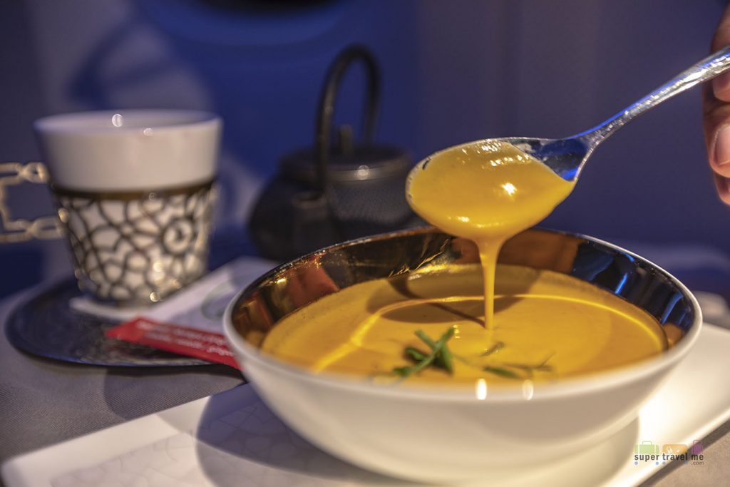 Sweet Pumpkin soup with affilla cress served onboard Turkish Airlines TK54 from Istanbul to Singapore