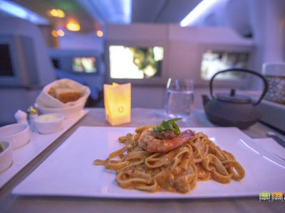 Turkish Airlines Dine on Demand - Jumbo Prawn Tagliatelle with Lobster Sauce TK54 24 May 2018