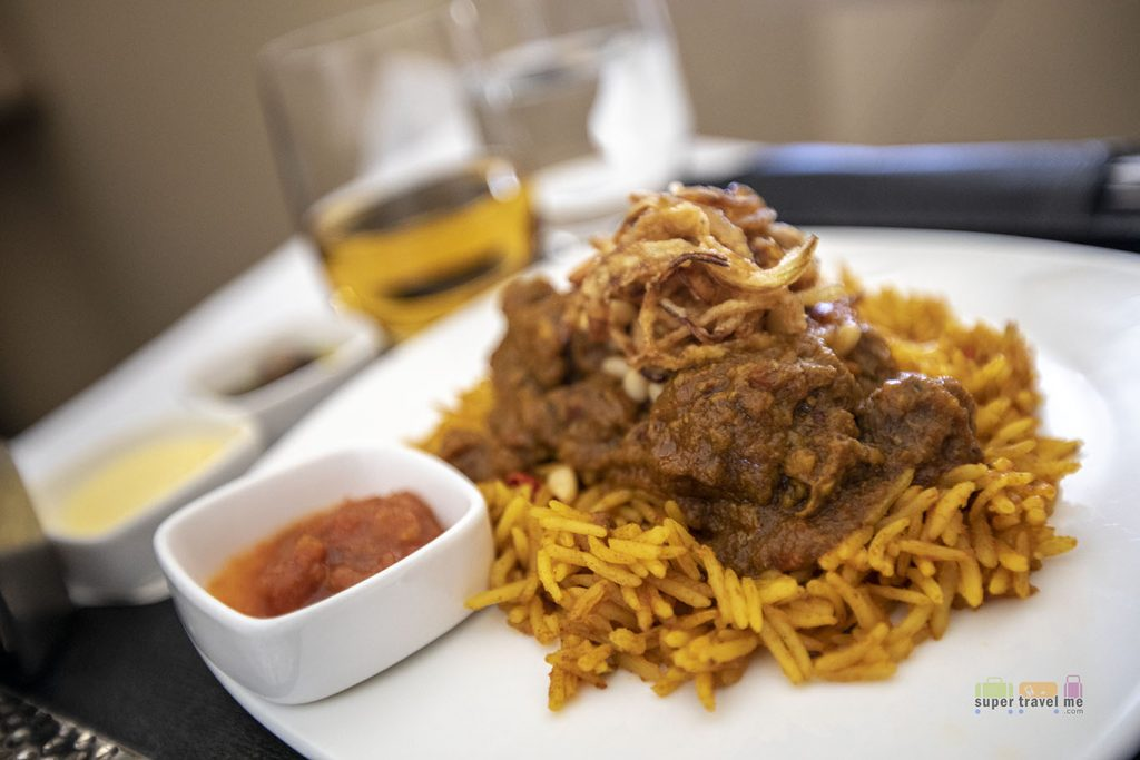 Lamb Kabsa - tender lamb cooked with basmati rice and spices - Mains onboard EY2