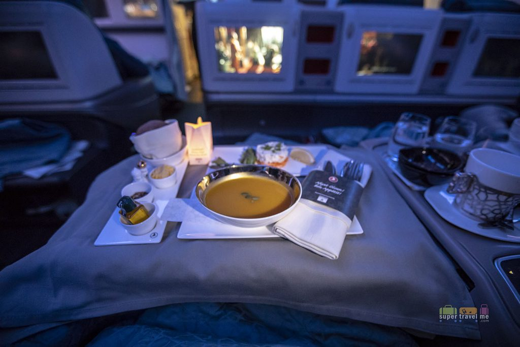 Ginger Pumpkin Soup with roasted pumpkin seeds served on board Turkish Airlines TK55 from Singapore to Istanbul