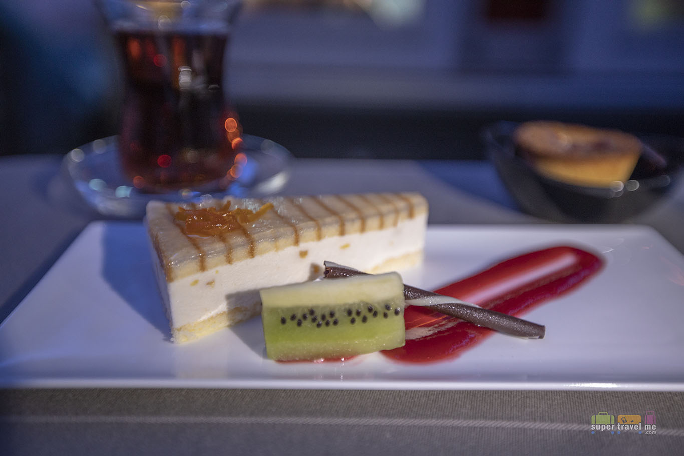 Orange Mousse Cake from the dessert trolley in Turkish Airlines