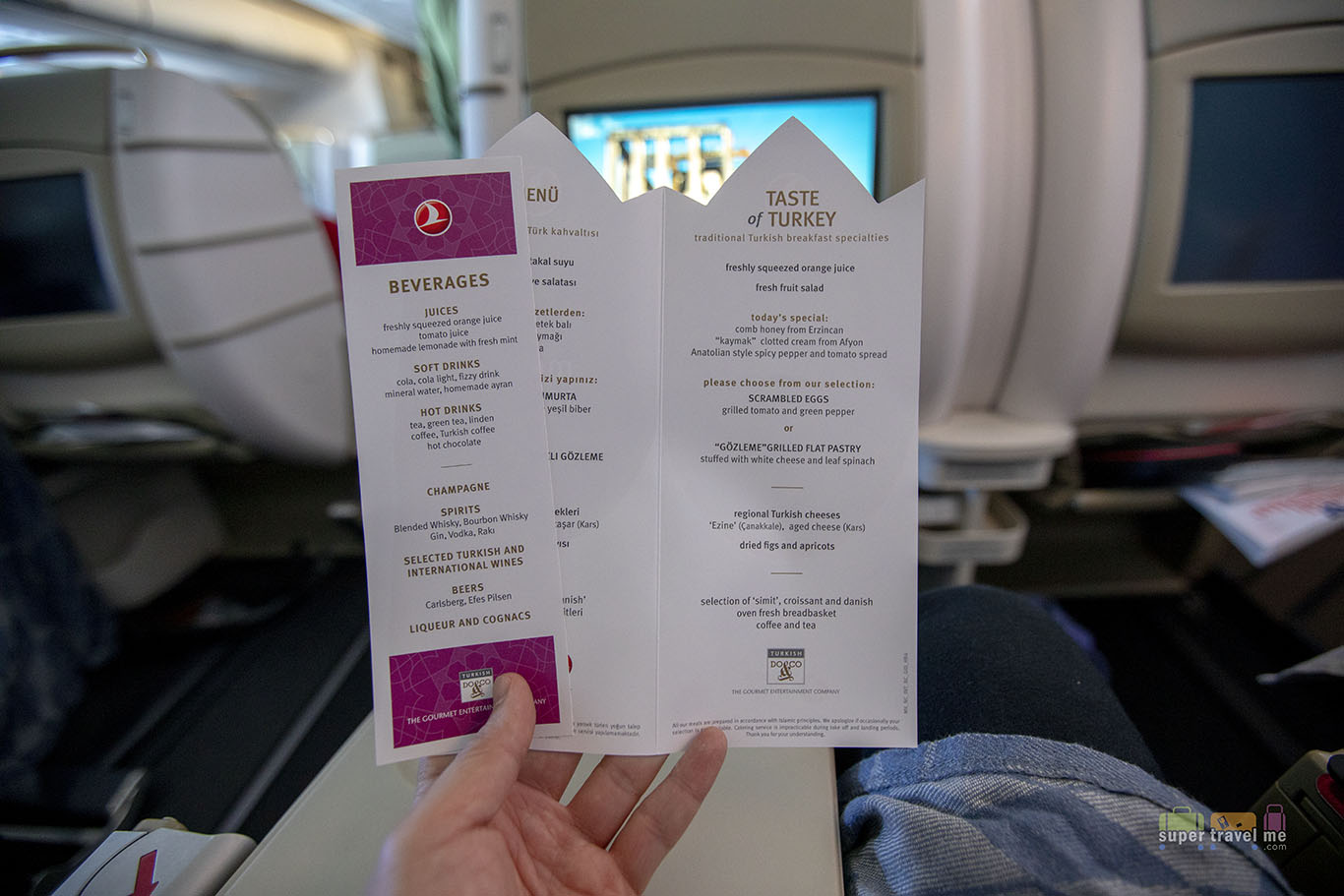 Menu for short haul flights on Turkish Airlines
