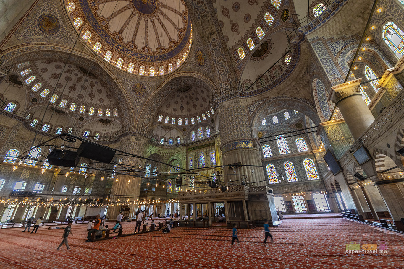 Inside the Sultan Ahmet Mosque (Blue Mosque in Istanbul)