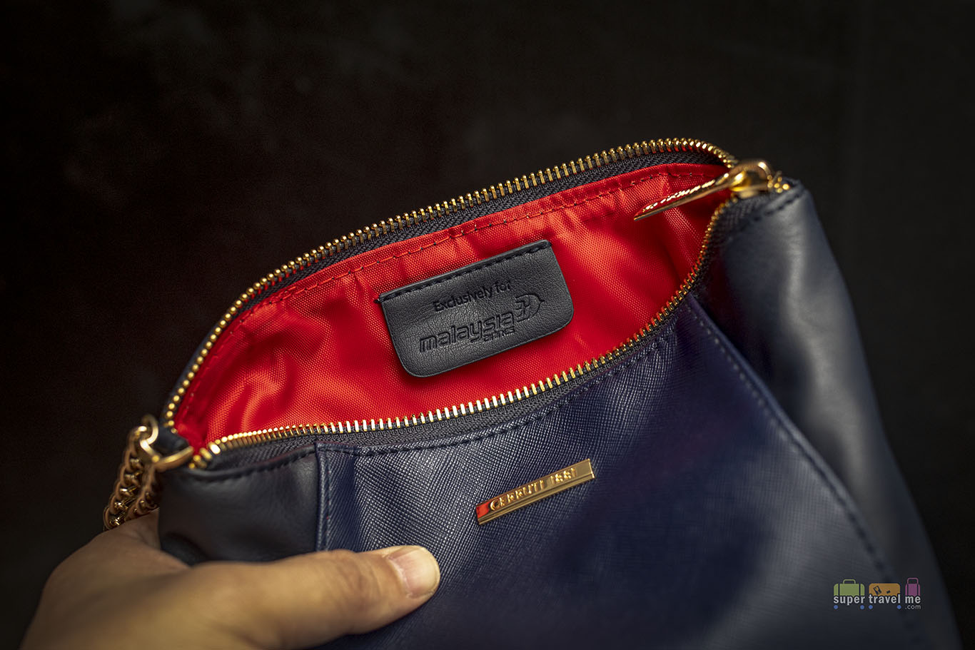 Inside the Malaysia Airlines First Class Amenity Kit pouch for women