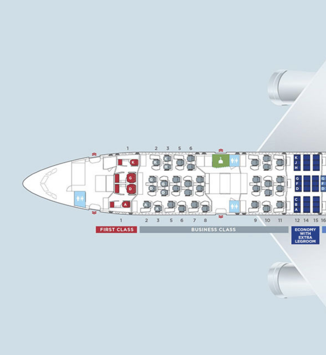 Malaysia Airlines A350 First and Business Class cabin configuration