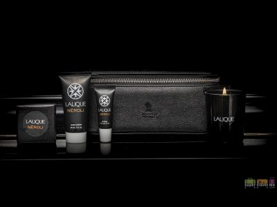 Singapore Airlines First Class Amenity Kit featuring Lalique products and candle