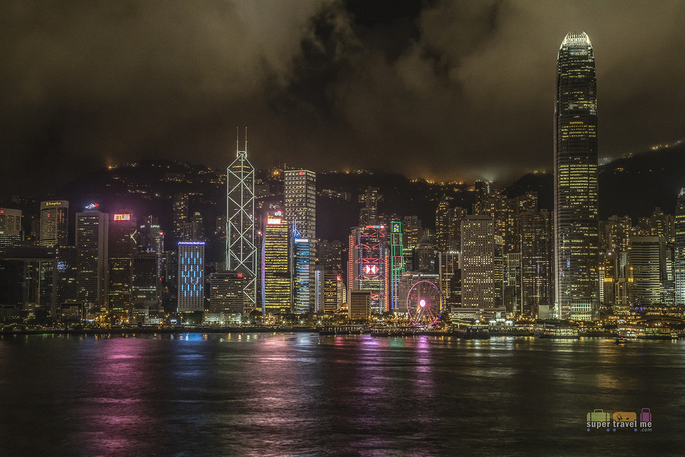Night Hong Kong Island Skyline