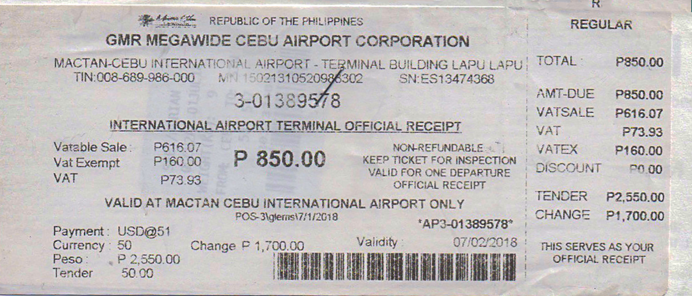 Mactan Cebu International Airport International Terminal Fee