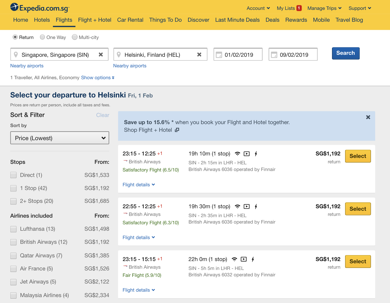 Expedia - Flights to Helsinki