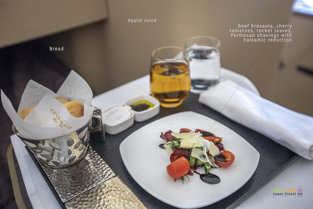 Beef Bresaola starter onboard Etihad Airways flight from Frankfurt to Abu Dhabi