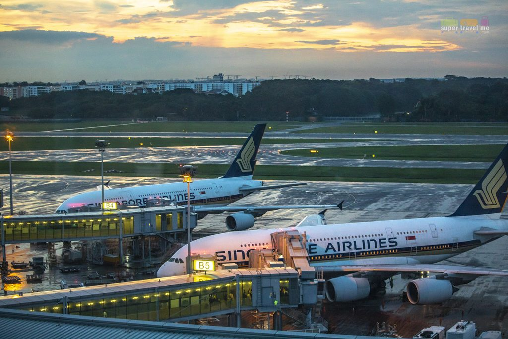 Singapore Airlines A380 parked in Changi Airport. View from Premier Runway View rooms at Crowne Plaza Changi Airport