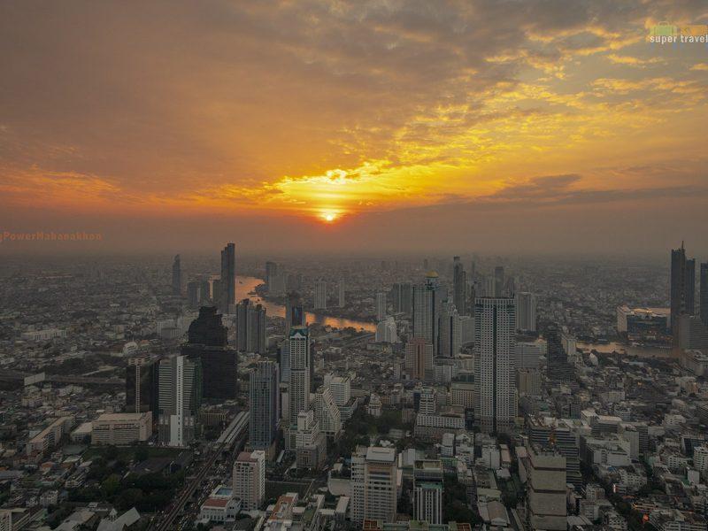 Sunset view from atop King Power Mahanakhon in Bangkok