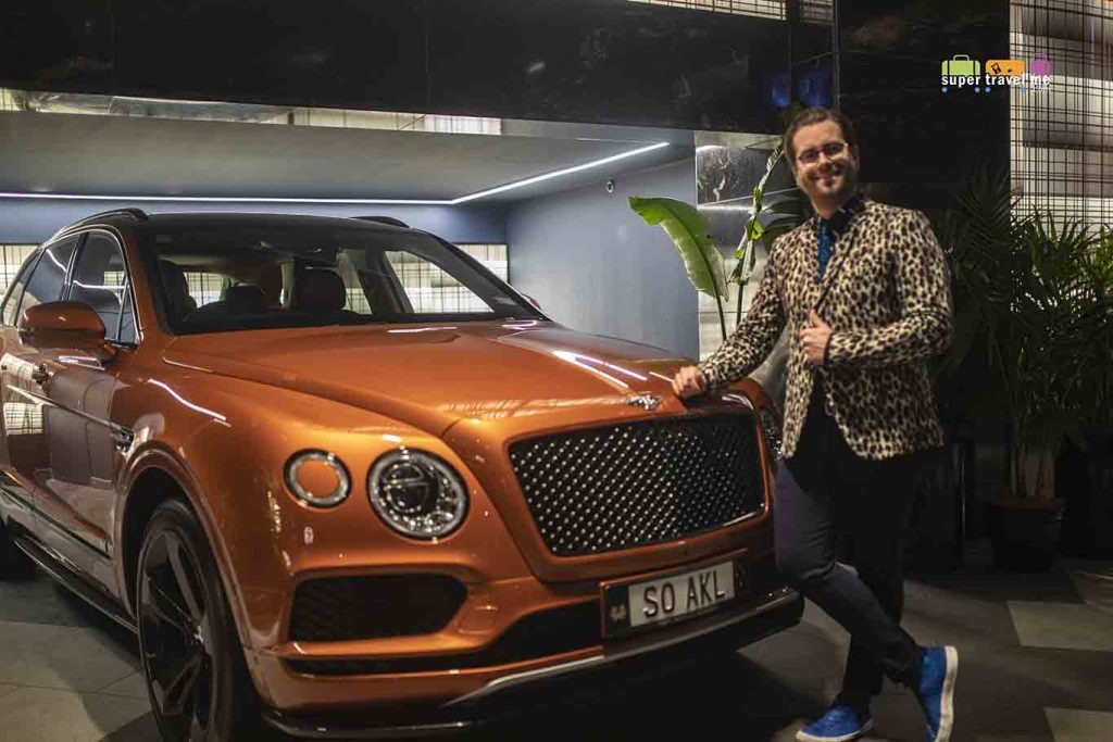WORLD's Benny Castles posing with the SO/ Auckland's Bentley