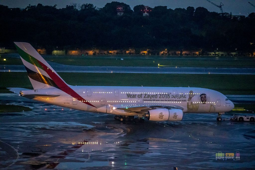 Emirates A380 Year of Zayed 2018 Livery - A6-EUA - Changi Airport