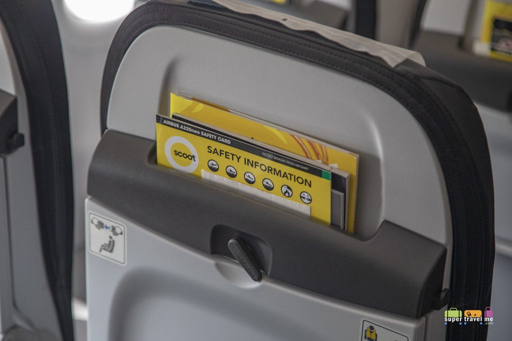 Seat pocket on the Recaro seats in Scoot's new A320neo aircraft